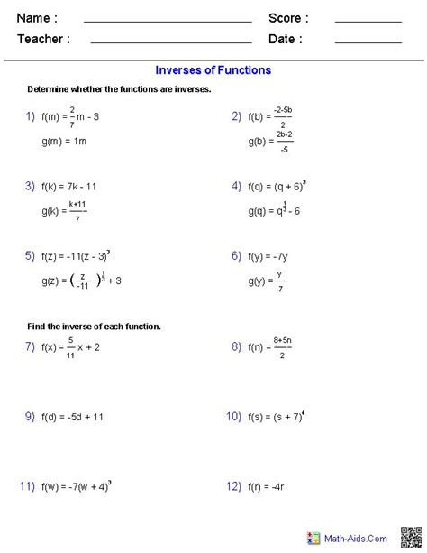 Logarithm Worksheet With Answers by Inverse Functions And Logarithms Worksheets Math Aids