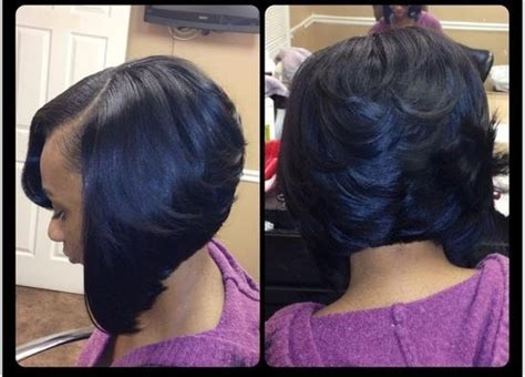 black women feathered bob weave feathered back bob tha stylist weaving pinterest bobs