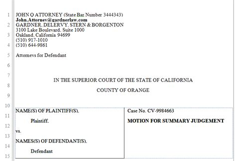 pleading template free california superior pleading template