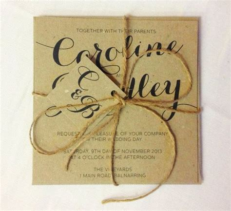brown kraft rustic with twine wedding invitation and rsvp