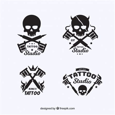 tattoo logo download tattoo logo collection with skull design vector free