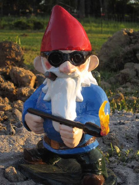 combat garden gnomes combat garden gnome with flamethrower