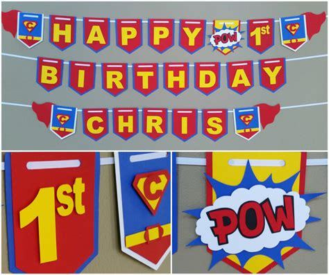 Bunting Flag Happy Birthday Banner Hbd Karakter Superman superman happy birthday banner superman banner superman