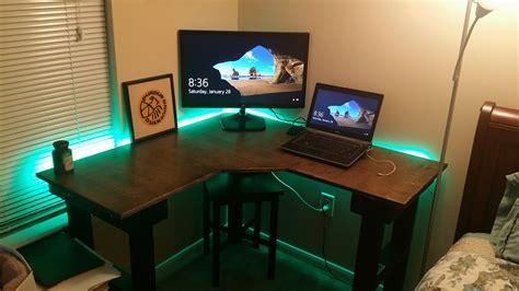 best corner desk for 3 monitors battlestation desk best home design 2018