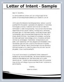 Letter Of Intent Template by Letter Of Intent Sle Writing Professional Letters