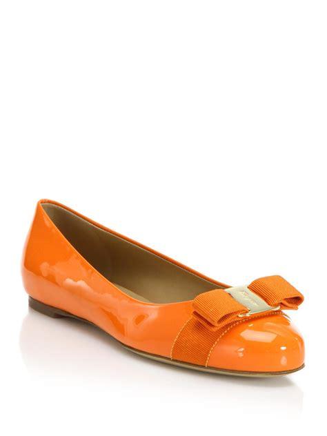 orange shoes flats lyst ferragamo varina patent leather ballet flats in orange