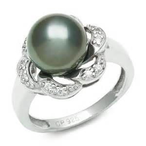 black pearl wedding rings tahitian black pearl cubic zirconian engagement ring