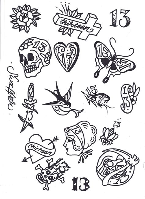 tattoo flash art for men friday 13th flash tattoos 13