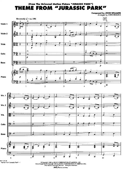 theme music to jurassic park jurrasic park theme song sheet music viola jurassic park