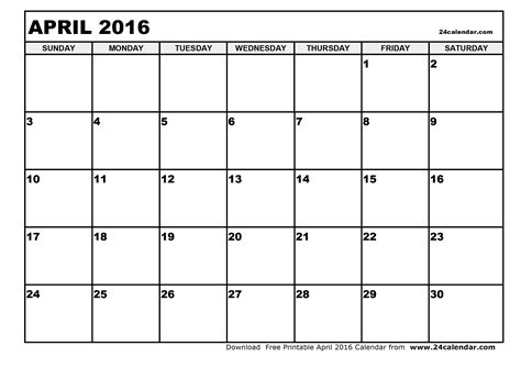 Kalender 2016 Blanko Blank April 2016 Calendar In Printable Format