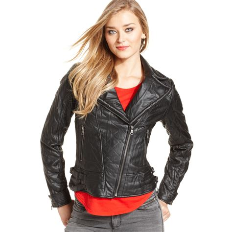 Guess Sprint Black Leather guess jacket quilted faux leather chain trim moto in black lyst