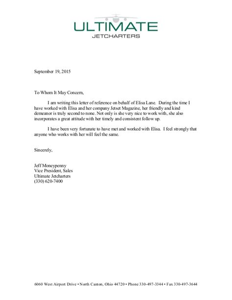Recommendation Letter On Behalf Of Reference Letter For Elisa