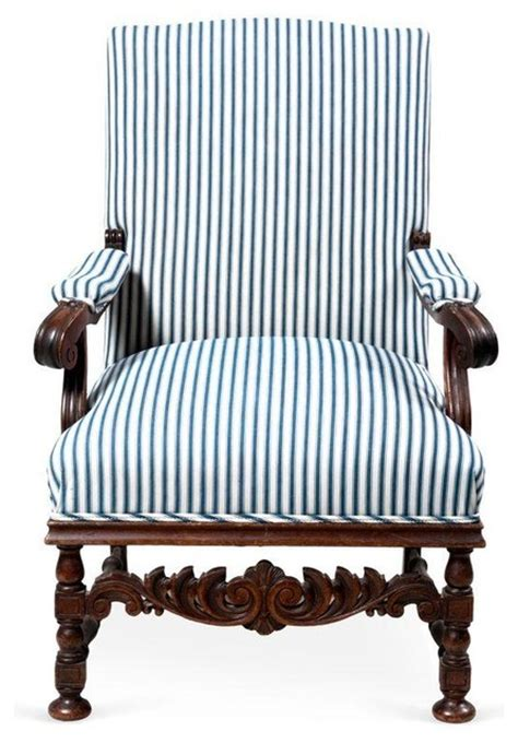 Blue And White Striped Armchair Pre Owned Blue White Stripes Carved Antique Armchair