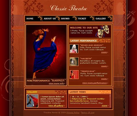 theater template theater website template web design templates website