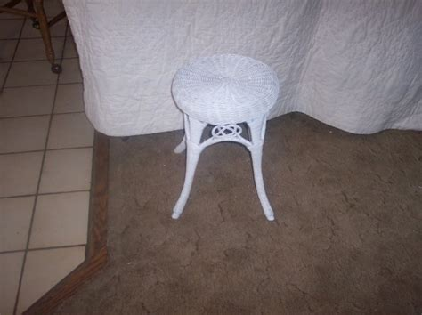 White Wicker Vanity Stool by For Sale Antiques Classifieds