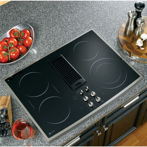 cooktops with downdrafts ge profile pp989snss 30 quot electric downdraft cooktop
