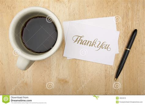 Thank You Note Card, Pen And Coffee Stock Photos   Image: 4024513