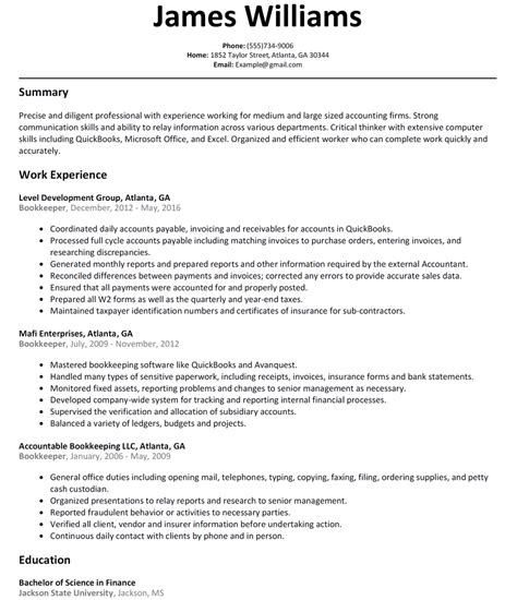 book keeper resume resume ideas