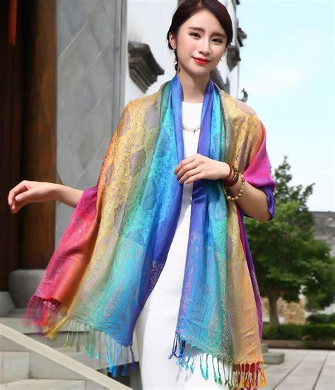 Kemeja Fashion Import With Syal syal import high quality jy58405 rainbow tamochi