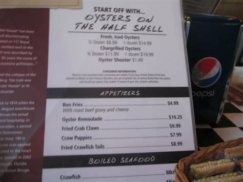 acme oyster house menu oyster menu acme oyster house picture of acme oyster house destin tripadvisor