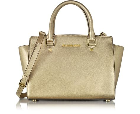 Michael Kors Selma Medium Satchel Pale Gold michael kors pale gold selma saffiano leather medium