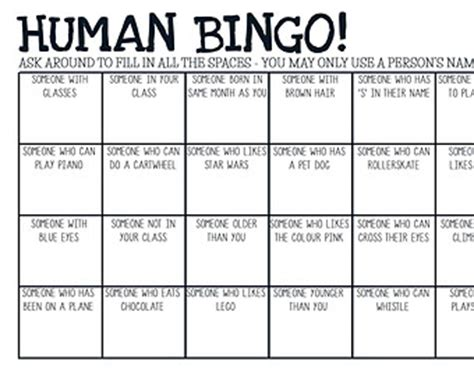 human bingo cards template 9 best images of printable human bingo templates human