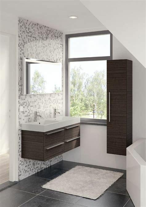 Charmant Alinea Miroir Salle De Bain #2: 1-colonne-de-salle-de-bain-en-bois-foncé-carrelage-mosaique-salle-de-bain.jpg