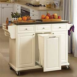 Kitchen island with trash bin