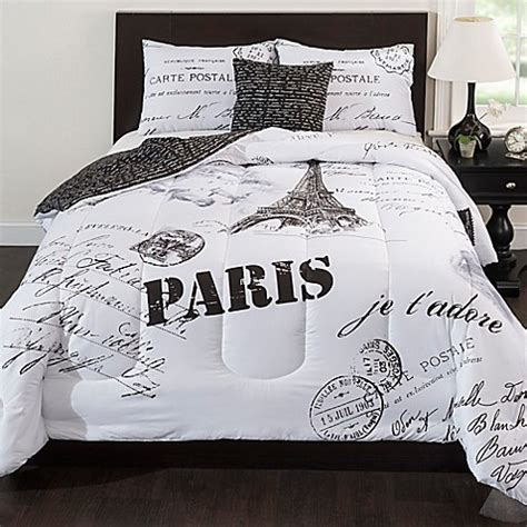 black and white paris comforter set paris reversible comforter set in black white bed bath