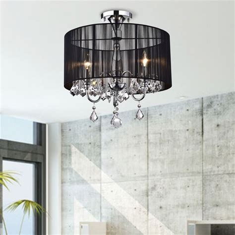 black and chrome semi flush mount chandelier by