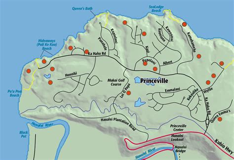kauai resort map princeville area hawaii revealed