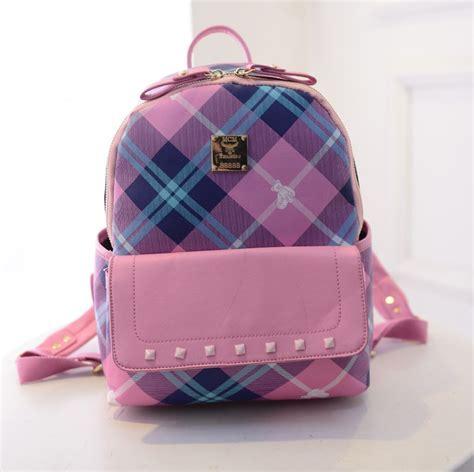 Fashion Bag Motif Salur Pink Korean Style Di Lengkapi Dompet Kecil K blue pink korean canvas backpack mochilas fashion pu leather patchwork plaid design rivet