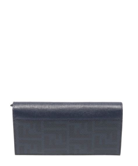 Fendi Wallet Navy Fendi Navy Blue Zucca Canvas Bi Fold Travel Wallet In Blue