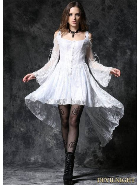 white   shoulder long sleeves high  lace gothic