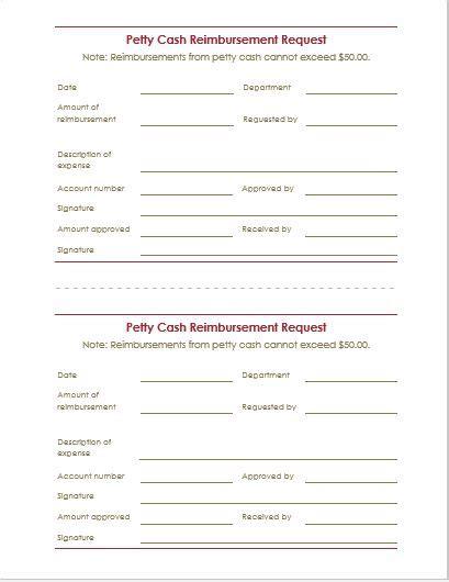 reimbursement request form letter templates word