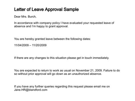 Leave Acceptance Letter From Employer Letter Of Leave