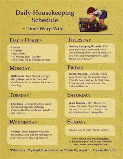 housekeeping tips free printable daily housekeeping schedule time warp wife