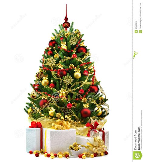 decorated trees on decorated tree on white background
