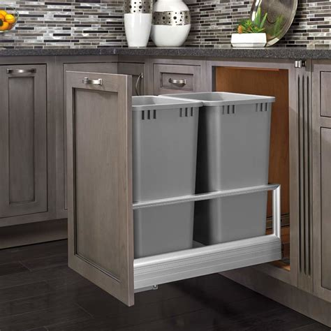 kitchen cabinet trash can pull out rev a shelf double trash pullout 50 quart silver 5149