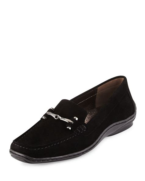 donald pliner loafers donald j pliner lianna suede loafers in black lyst