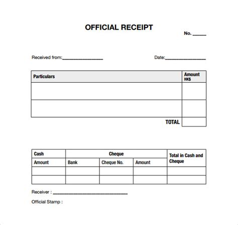 generic receipt template search results for receipt for payment template free