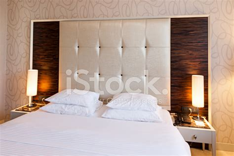 luxury hotel room double bed modern design stock