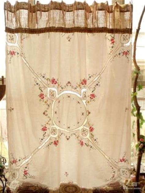 gypsy ruffled shower curtain vtg embroidered boho gypsy shabby rustic chic burlap