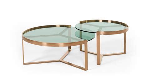 aula tables basses gigognes cuivre et verre vert made