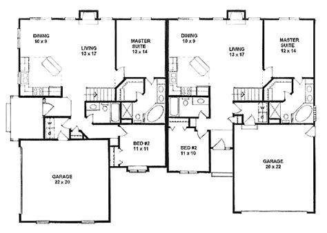 duplex with garage plans traditional multi family plan 62604 small enclosed porch
