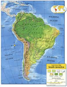 and south america physical map physical america map