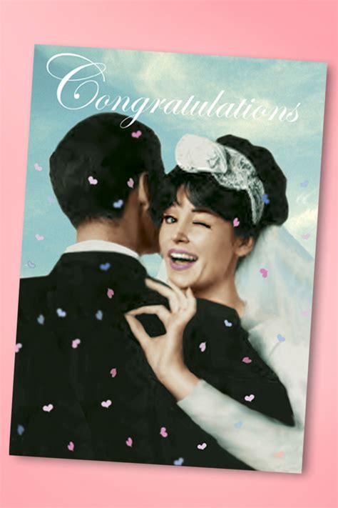 Wedding Congratulations Retro by 50s Wedding Congratulations Greeting Card