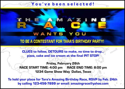 paper perfection free quot amazing race quot birthday party