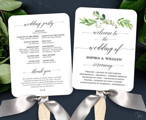 wedding program fans diy template garden greenery wedding fan program printable wedding fan