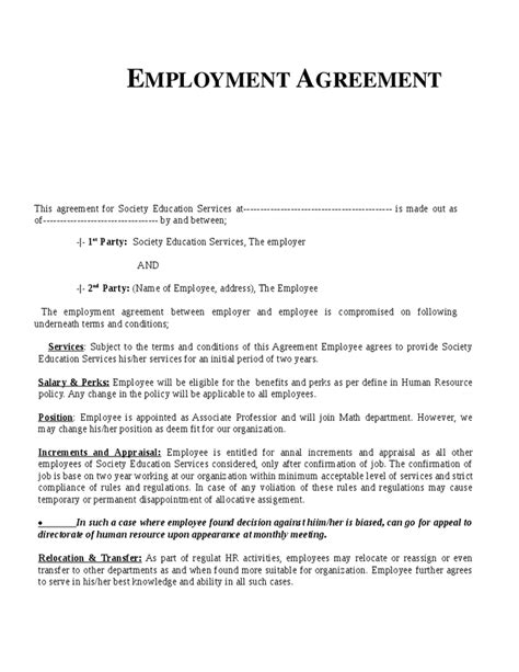 Employment Letter Agreement Sle Employment Agreement Template Hashdoc